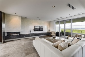 Stone benchtop and tiled wall and floor-Aurora Stone
